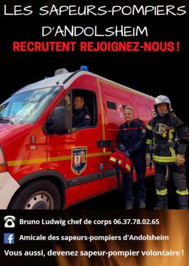 Les sapeurs-pompiers d'Andolsheim recrutent !